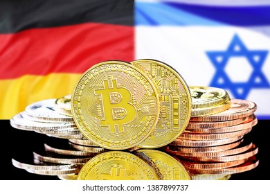 Bitcoins on the background of the flag Israel and Germany. Concept for investors in cryptocurrency and Blockchain technology in the Israel and Germany.