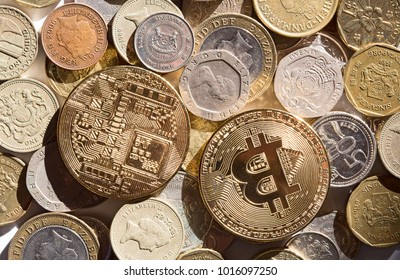 Bitcoins on the coin background