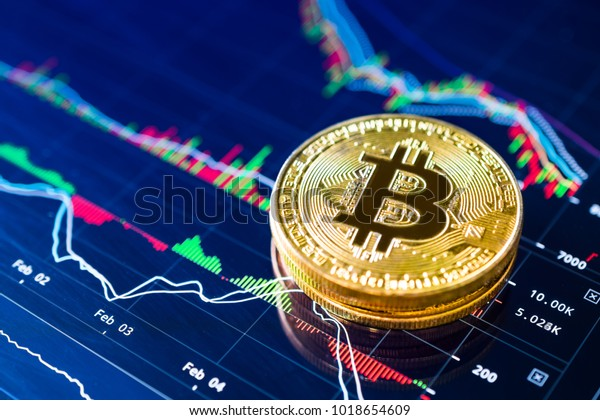 Bitcoins on ladder chart cryptocurrency background concept.