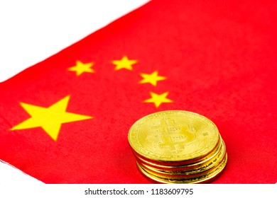 Bitcoins on National flag of China for cryptocurrency Digital marketing concept