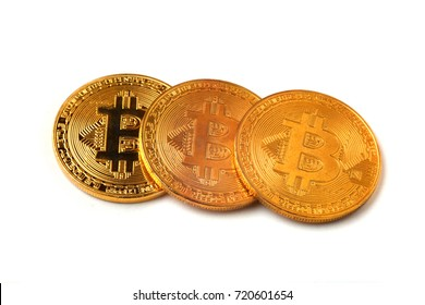 bitcoins on a white background