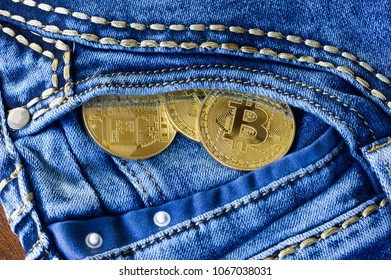 Bitcoins in the pocket of a jeans