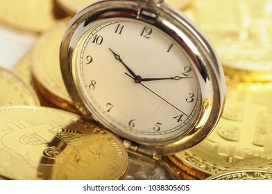 bitcoins with a pocket watch