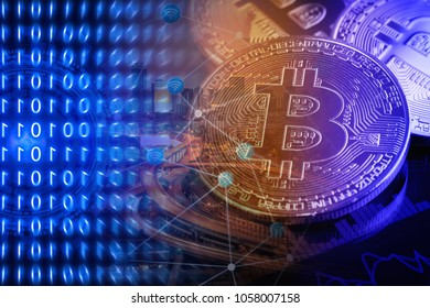 Bitcoins with smart city background.Conceptual design for technology of Cryptocurrency and Blockchain.