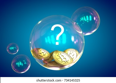 Bitcoins in a soap bubble with question mark. 3D render.