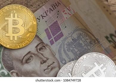 Bitcoins with Ukraine money bill