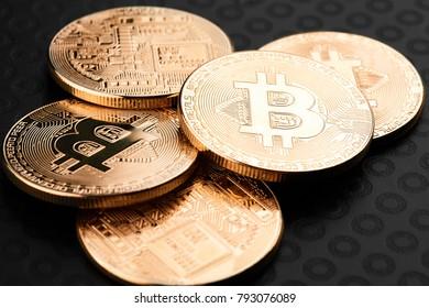 Bitcoins and Virtual money. Bitcoin gold coin. Cryptocurrency concept