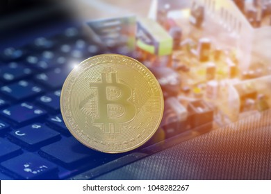 bitcon gold on the electronic circuit unlimited of business success concept, Double exposure bitcoin BTC the new virtual electronic money with electronic