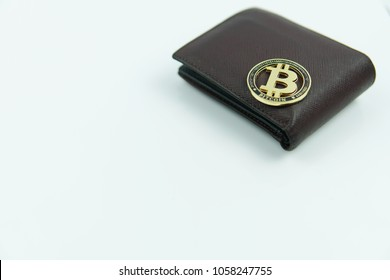 Bitcon gold with wallet isolated white background.