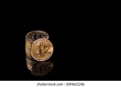 bitcon on black background