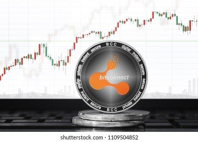 Bitconnect (BCC) cryptocurrency; bitconnect coin on the background of the chart