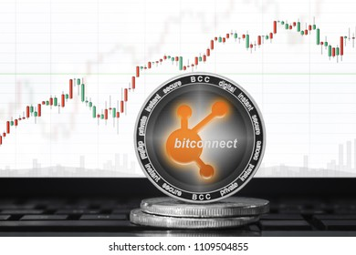 BitConnect Coin (BCCOIN) cryptocurrency; bitconnect coin on the background of the chart