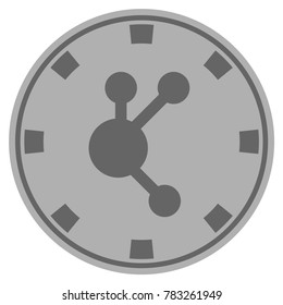 Bitconnect gray casino chip pictogram. Raster style is a gray silver flat gambling token symbol.
