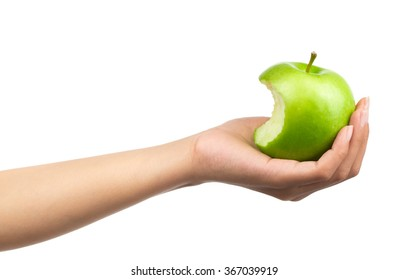 Bite apple on hand isolated on white background