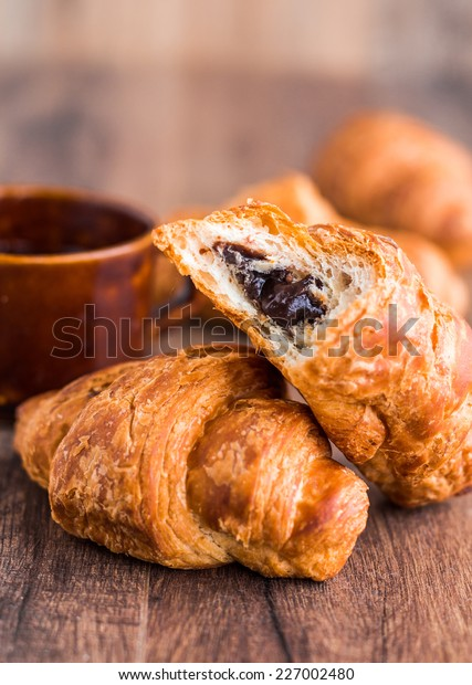Bite Chocolate Croissant Cup Coffee French Stock Photo Edit