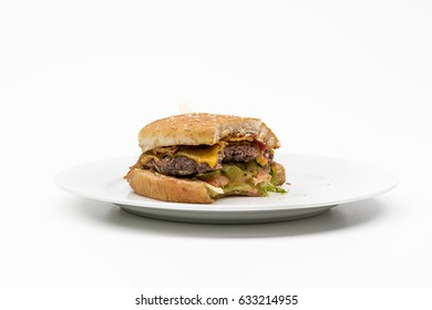 Bite out of burger isolated on white background.