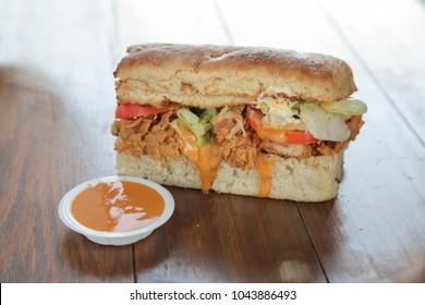Bite size mini fried chicken sandwich