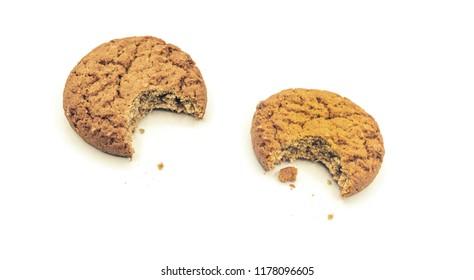 biten oatmeal cookies on white
