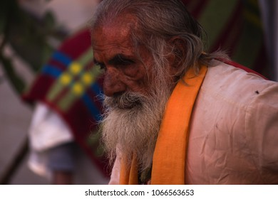 Bithoor, Uttar Pradesh/India- December 28,2016: A blind old man near Valmiki Ashram, Kanpur, India