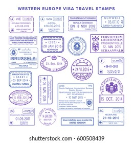bitmap western europe common travel visa stamps set