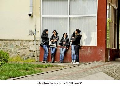BITOLA, MACEDONIA, MAY 19, 2011. Five teen aged girls hanging out in Bitola, Macedonia, on May 19th, 2011.