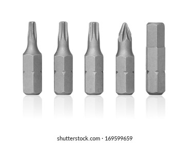 Bits screwdriver standing in a row