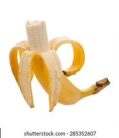 Bitten banana isolated on white background.