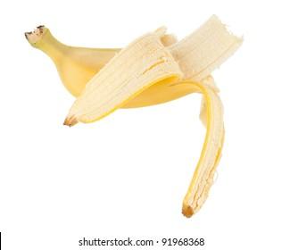 Bitten banana. Isolated on white background