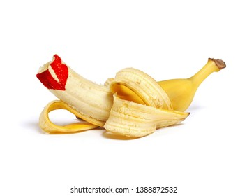 Bitten banana with red imprint of lipstick on white background.