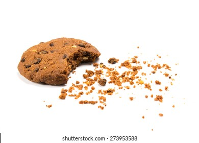 A bitten cookie with crumbs, isolated on white