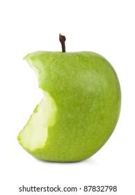 bitten green apple on a white background