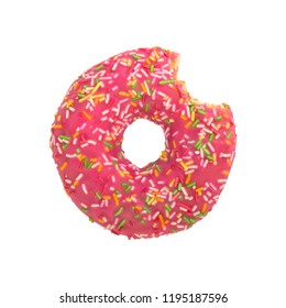 Bitten pink donut with colorful sprinkles isolated on white background. Top view.