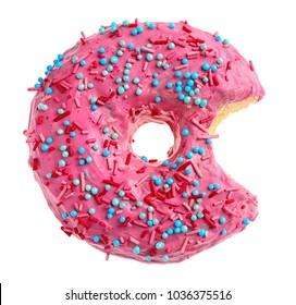 Bitten pink donut on white background