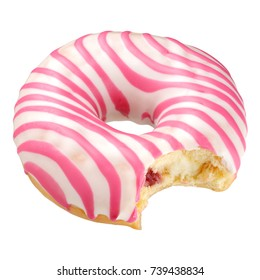 Bitten pink striped donut isolated on white background with clipping path
