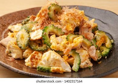 bitter gourd stir-fried with egg、pork and tofu