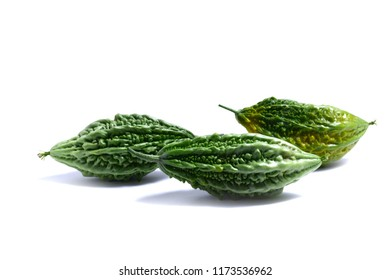 bitter gourds on white background