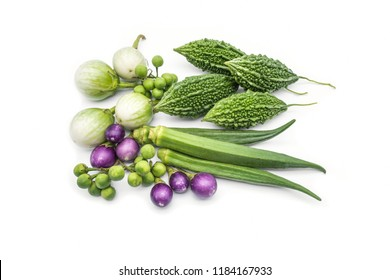 Bitter melo or Bitter Gourd, Okra, thai eggplant, thai purple eggplant, turkey berry isolate on the white background, healthy food, asian vegetable