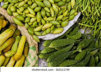 Bitter melon, cucumbers and longbeans at the indian market
