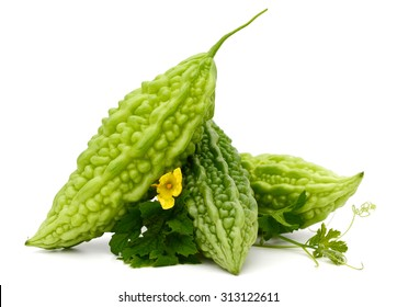 Bitter melon, Bitter gourd with leaves on white background