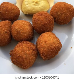 Bitterballen with mustard in Amsterdam