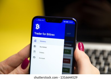 Bittrex cryptocurrency exchange website displayed on smartphone and stack of coins