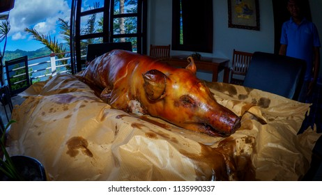 Bitung, Indonesia, Lembeh / June7th 2018 -Suckling pig roast for lunch at luxury resort