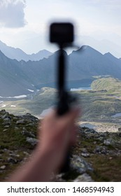 BIVACCO DAVIDE - CORTENO GOLGI - 07/23/2019 Detail of the Gopro hero 7 with a blurry mountain background.