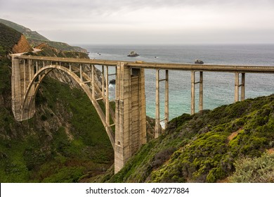 Bixby Bridge, A famous bridge on California Highway One, near Big Sur in Monterey County, California.