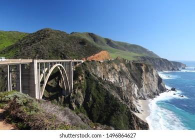Bixby Creek Bridge. California, USA. Pacific Coast Highway scenic drive.