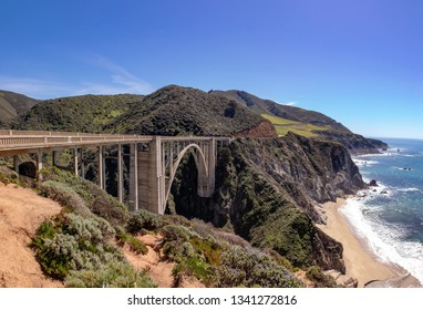 The Bixby Creek Bridge of Highway 1 - California's coastal bridge, USA