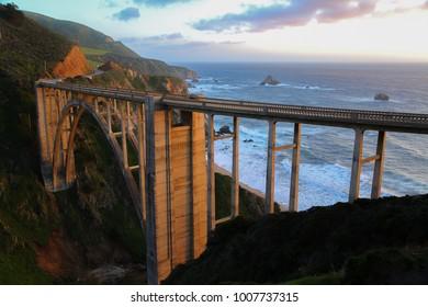 Bixby Creek Bridge on the california coast at dusk