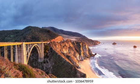 Bixby Creek Bridge on Highway 1 at the US West Coast traveling south to Los Angeles, Big Sur Area, California
