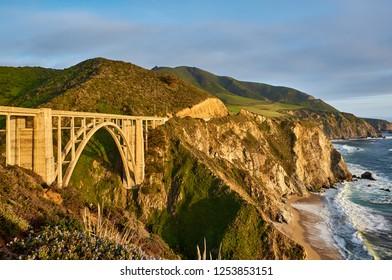 Bixby Creek Bridge on Highway 1 at sunset. Big Sur Area, California, USA.