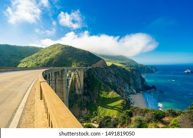 Bixby Creek Bridge on Highway (Highway 1) at the US West Coast traveling south to Los Angeles, Big Sur Area